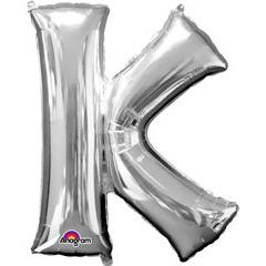 Globo letra K con forma plateado
