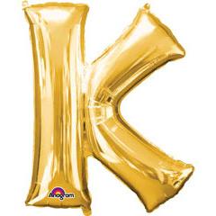 Globo letra K con forma dorado