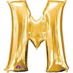 Globo letra M con forma dorado