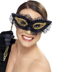 Máscara con palo negra