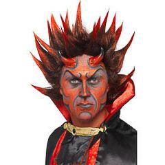 Peluca diablo punky negra y roja