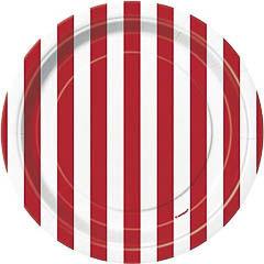 Pack 8 Platos de 17,50 cm rayas blancas y rojas