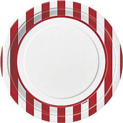 Pack 8 Platos de 22,50 cm rayas blancas y rojas