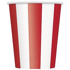 Pack 6 vasos cartón encerado rayas rojas y blancas