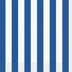 Servilletas rayas blanca y azules 25 x 25 cm, Pack 16 u.