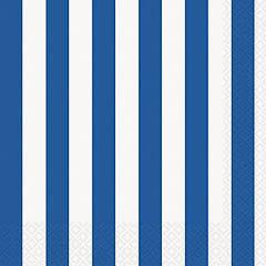 Servilletas rayas blancas y azules 33 x 33 cm, Pack 16 u.