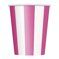 Pack 6 vasos cartón encerado rayas rosa y blancas