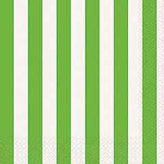 Servilletas rayas blancas y verdes 33 x 33 cm, Pack 16 u.