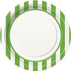 Pack 8 Platos de 22,50 cm rayas blancas y verdes