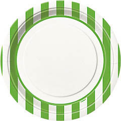 Platos rayas verdes y blancas 22,50 cm, Pack 8 u.