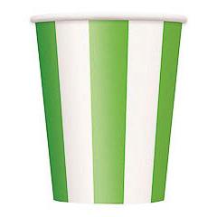Pack 6 vasos cartón encerado rayas verdes y blancas