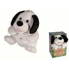 Peluche perro blanco con orejas negras con sensor de movimiento y risa