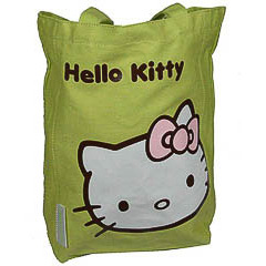 Bolsa de lona Hello Kitty de color verde pistacho con lazo