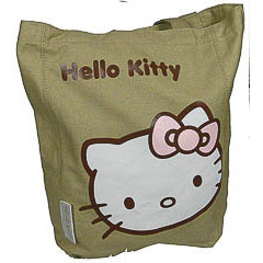 Bolsa de lona Hello Kitty de color verdoso