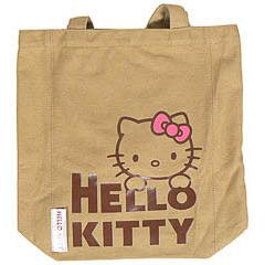 Bolsa de lona Hello Kitty de color camel