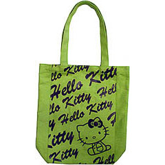 Bolsa de lona Hello Kitty de color verde pistacho