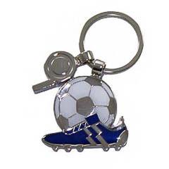Llavero bota futbol azul con balón y silbato