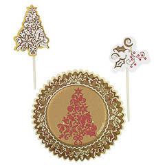 Pack decoración 24 cupcakes modelo árbol Navidad