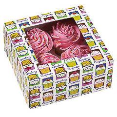Cajas para 4 Cupcakes con ventana, Pack 3 u.