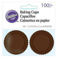 Pack de 100 cápsulas mini cupcakes marrones Wilton