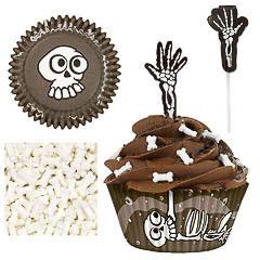 Pack decoración 24 cupcakes esqueleto Halloween Wilton