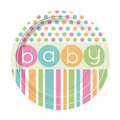 Pack 8 Platos Baby Shower Pack 8 Platos lisos 17,80 cm