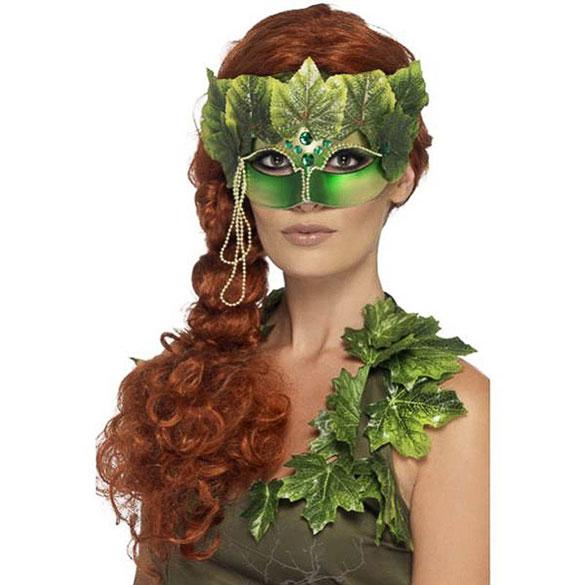 Antifaz ninfa del bosque con hojas verdes