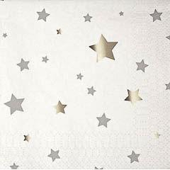 Pack 16 servilletas estrellas plateadas 12,50 x 12, 50 cm