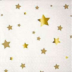 Servilletas estrellas Doradas 12,5 x 12, 50 cm, Pack 16 u.