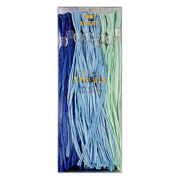 Guirnalda 12 borlas con flecos azul y verde