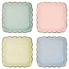 Platos colores con borde dorado 22,90 cm, Pack 8 u.