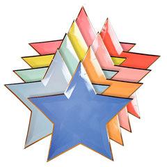 Platos forma de estrella colores pastel 27,50 cm, Pack 8 u.