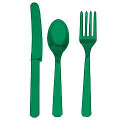 Cubiertos de plástico Verde, Pack 24 u.