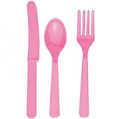 Cubierto de plástico rosa
