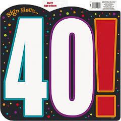 Decoración cartel 40 cumpleaños
