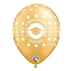 Globos blanco y oro Congratulations Graduate, Pack 10