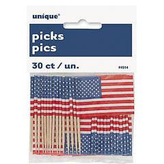 Pack 30 pinchos decorativos bandera USA