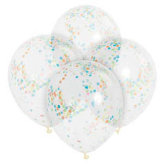 Globos de Látex transparentes con confeti multicolor. Pack 6 unidades