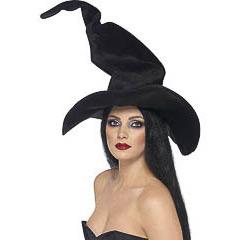 Sombrero de bruja largo de terciopelo irregular