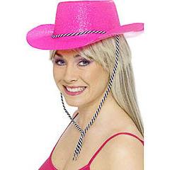 Sombrero vaquero pástico purpurina rosa fuerte