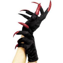 Guantes negros de tela adulto con uñas rojas
