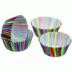 Pack de 60 cápsulas cupcakes modelo rayas de colores