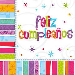 Servilletas Feliz Cumpleaños 33 x 33 cm, Pack 16 u.