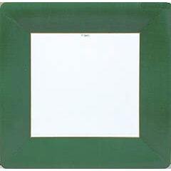 Platos Ribete Verde Navidad 26 cm, Pack 8 u.