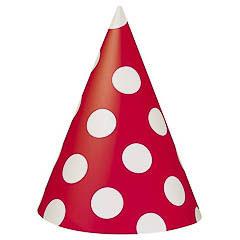 Gorros cartón cumpleaños rojo lunares blancos, Pack 8 u.