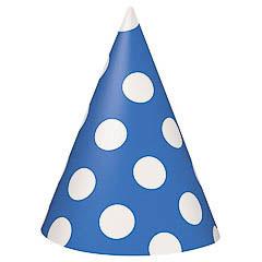 Gorros cartón cumpleaños azul lunares blancos, Pack 8 u.