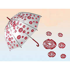 Paraguas adulto transparente muchos besos