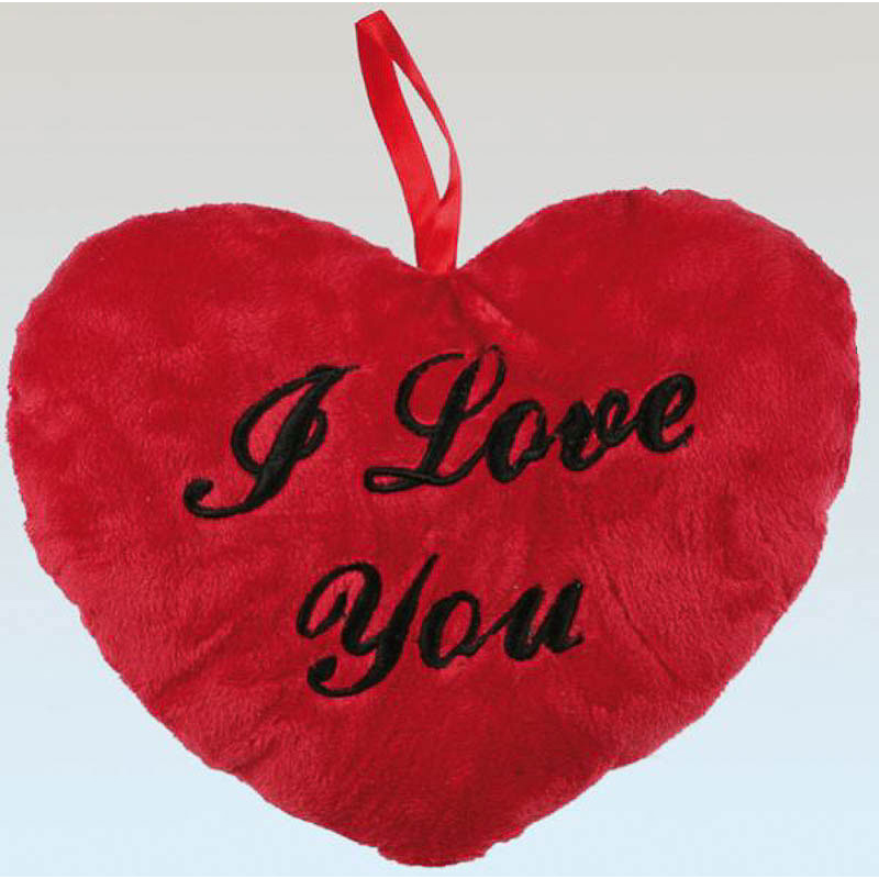 Cojín corázon rojo de peluche, I love You., 26 cm