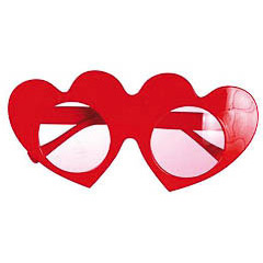 Gafas con forma de corazón rojo