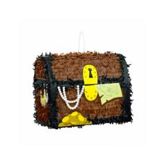 Piñata artesana cofre del tesoro piratas